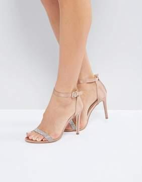 London Rebel Jewel Trim Satin Barely There Heel Sandal