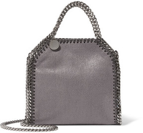 Stella McCartney - The Falabella Tiny Faux Brushed-leather Shoulder Bag - Dark gray