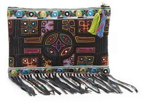 Nicole Miller Panama Tiles Fringe Clutch Bag