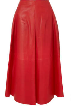 Jil Sander Leather Midi Skirt - Red