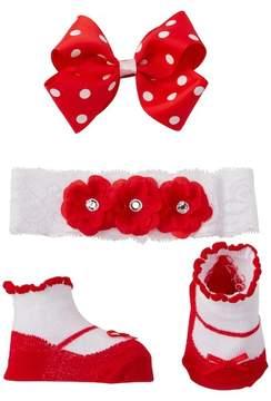Little Me Fancy Headwrap, Booties, & Clip (Baby Girls)\n