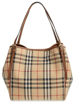 Burberry Small Canter Check & Leather Tote - Beige - BEIGE - STYLE