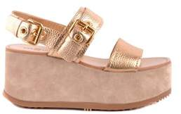 Car Shoe Women's Gold Leather Wedges.