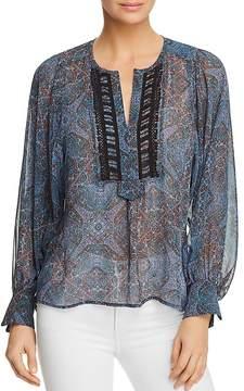 Ella Moss Sheer Tapestry-Print Top