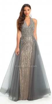 Camille La Vie Beaded Lace Halter Overskirt Evening Dress