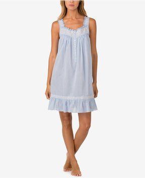 Eileen West Embroidery-Trimmed Cotton Nightgown