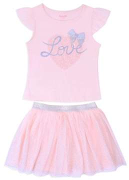 Nannette Little Girls' 4-6X Love Lace Sleeve Top and Tulle Skirt 2-Piece Outfit Set