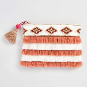 World Market Coral and White Beaded Fringe Pouch