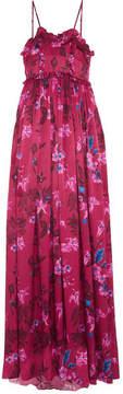 Balenciaga Ruffled Floral-print Silk-jacquard Gown - Pink