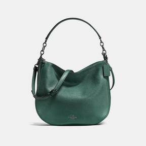 COACH CHELSEA HOBO 32 IN POLISHED PEBBLE LEATHER - DARK GUNMETAL/DARK TURQUOISE