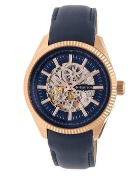 Heritor Desmond Automatic Blue Skeleton Dial Blue Leather Men's Watch