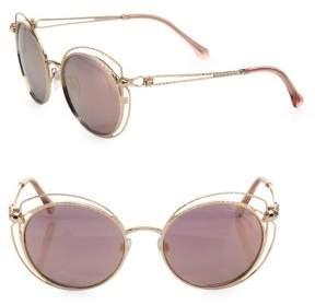 Roberto Cavalli 55MM Round Mirrored Metal Sunglasses