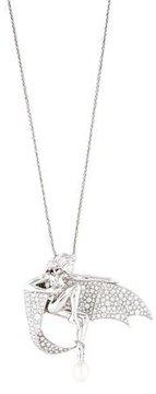 Boucheron 18K Pearl & Diamond Ethereal Woman Pendant Necklace