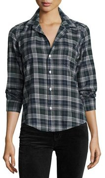 Frank And Eileen Barry Plaid Oxford Shirt, Green/Navy Blue