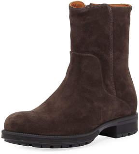 Aquatalia Logan Suede Zip Boot, Brown