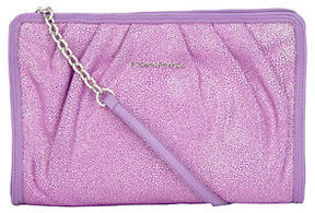 Judith Ripka Lenox Stingray EmbossedLeather Pleated Clutch