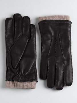 Black & Brown Black Brown Cashmere Lined Cuffed Leather Gloves