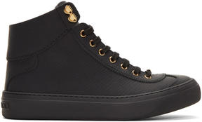 Jimmy Choo Black Argyle High-Top Sneakers
