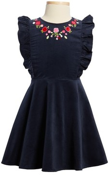 Juicy Couture Girl's Floral Embroidered Corduroy Dress