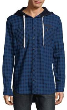 PRPS Checkered Cotton Hooded Button-Down Shirt