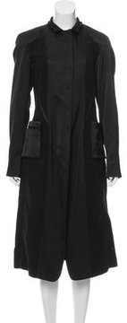Donna Karan Satin-Paneled Wool Coat w/ Tags
