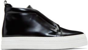 Pierre Hardy Black Patent Slider 2 High-Top Sneakers