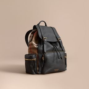 Burberry The Large Rucksack in Grainy Leather and House Check
