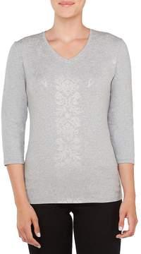 Allison Daley Embellished V-Neck Foil Details Knit Top