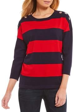 Westbound Petites 3/4 Sleeve Grommet Sweater