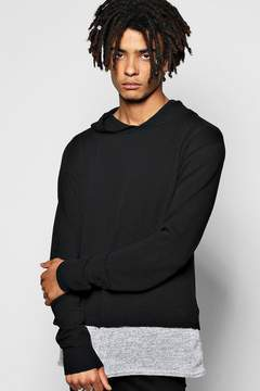 boohoo Hooded Knitted Jumper with Jersey Insert