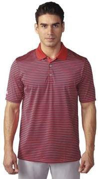 adidas 2016 Men's Tournament 3-Color Stripe Short Sleeve Polo Shirt (Shock Red/Mineral Blue/White - S)
