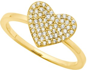Crislu 18K Gold Plated Sterling Silver CZ Pave Simply Heart Ring