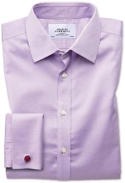 Charles Tyrwhitt Extra Slim Fit Non-Iron Puppytooth Lilac Cotton Dress Shirt French Cuff Size 14.5/32
