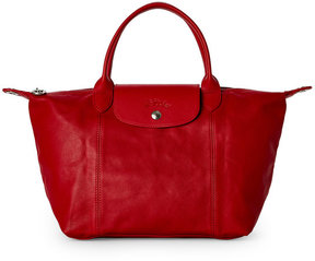 Longchamp Cherry Le Pliage Cuir Small Satchel - RED - STYLE
