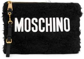 Moschino medium textured logo pouch