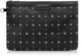 Jimmy Choo Black Grainy Leather Derek Clutch