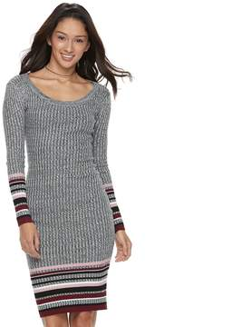 Almost Famous Juniors' Marled Striped Hem Sweater Dress