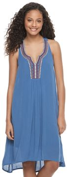 Almost Famous Juniors' Embroidered Notch Neck Dress