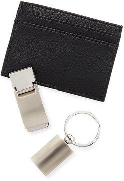 Neiman Marcus Faux-Leather Money Clip Wallet Set