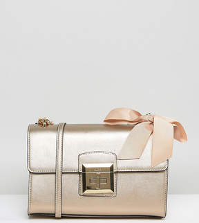 Aldo Cross Body Bag with Chain Strap and Bow Detail in Gold