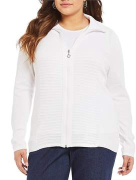 Allison Daley Plus Polo Collar Zip Front Textured Cardigan