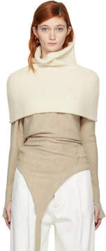 LAUREN MANOOGIAN White Bottle Shoulders Turtleneck Neck Warmer