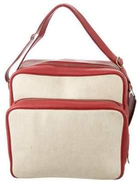 Hermes Vintage Togo and Toile Messenger Bag
