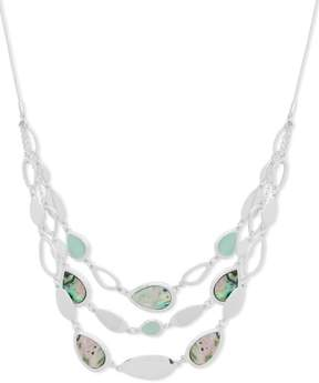 Nine West Abalone Shell Front Necklace One Size Silver tone