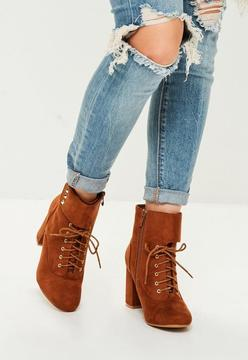 Missguided Brown Faux Suede Lace Up Ankle Boots