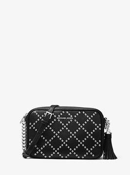 Michael Kors Ginny Grommeted Leather Crossbody - BLACK - STYLE