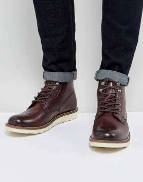 Dune Lace Up Boot In Wine Leather