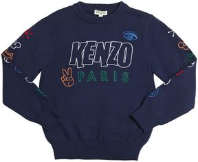 Kenzo Embroidered Cotton & Wool Sweater