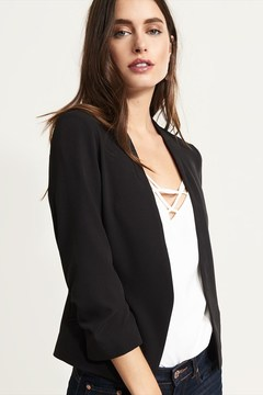 Dynamite Cropped Blazer With Ruched Sleeves