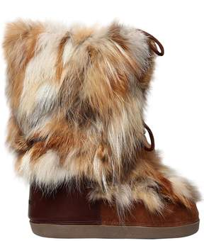 DSQUARED2 Fox Fur & Suede Snow Boots